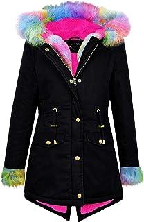 Girls Children Thicken Velvet Coat Hooded Jacket Fur collar Hooded Long Parka UK
