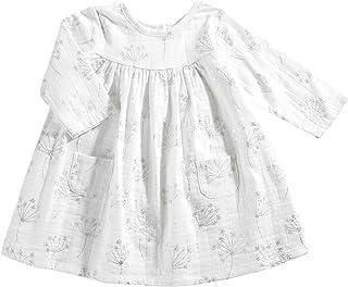aden + anais Baby Girls' Long Sleeve Pocket Dress, Primrose Starburst-9-12