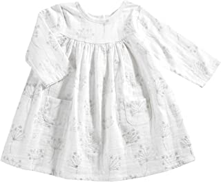 aden + anais Baby Girls' Long Sleeve Pocket Dress, Primrose Starburst-9-12