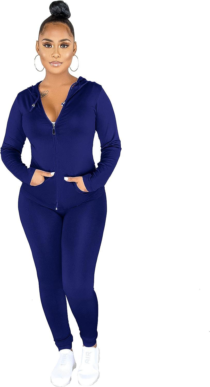 Women's 2 Piece Outfits Sexy Long Sleeve Zipper Hoodie Sweatshirts Bodycon Pants