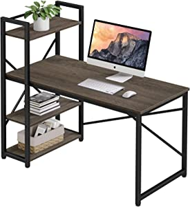 Computer Desk with Storage Shelves, Homemaxs 47 Inches Home Office Desks for Small Space, Workstation, Spacious Writing Table with 4 Tiers Adjustable Shelves for Drawing, Students, Study