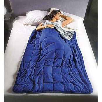 Coperta gravitazionale Calmya 10,5 – usa il peso per facilitare il sonno ed il rilassamento. Pesante 10,5kg – 180x120cm, x uso individuale, con sfere di vetro anallergiche, grigio/blu