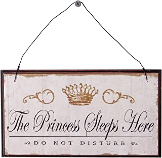 NIKKY HOME The Princess Sleep Here, Do not Disturb Wooden Wall Decorative Sign 8.37 x 0.37 x 4.5 Inches White