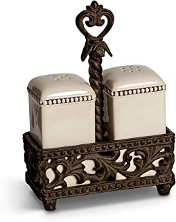 2 Piece Salt and Pepper Shaker and Caddy Serving Set