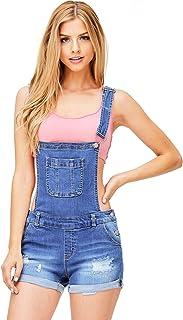 Wax Women's Juniors Cute Denim Overall Shorts