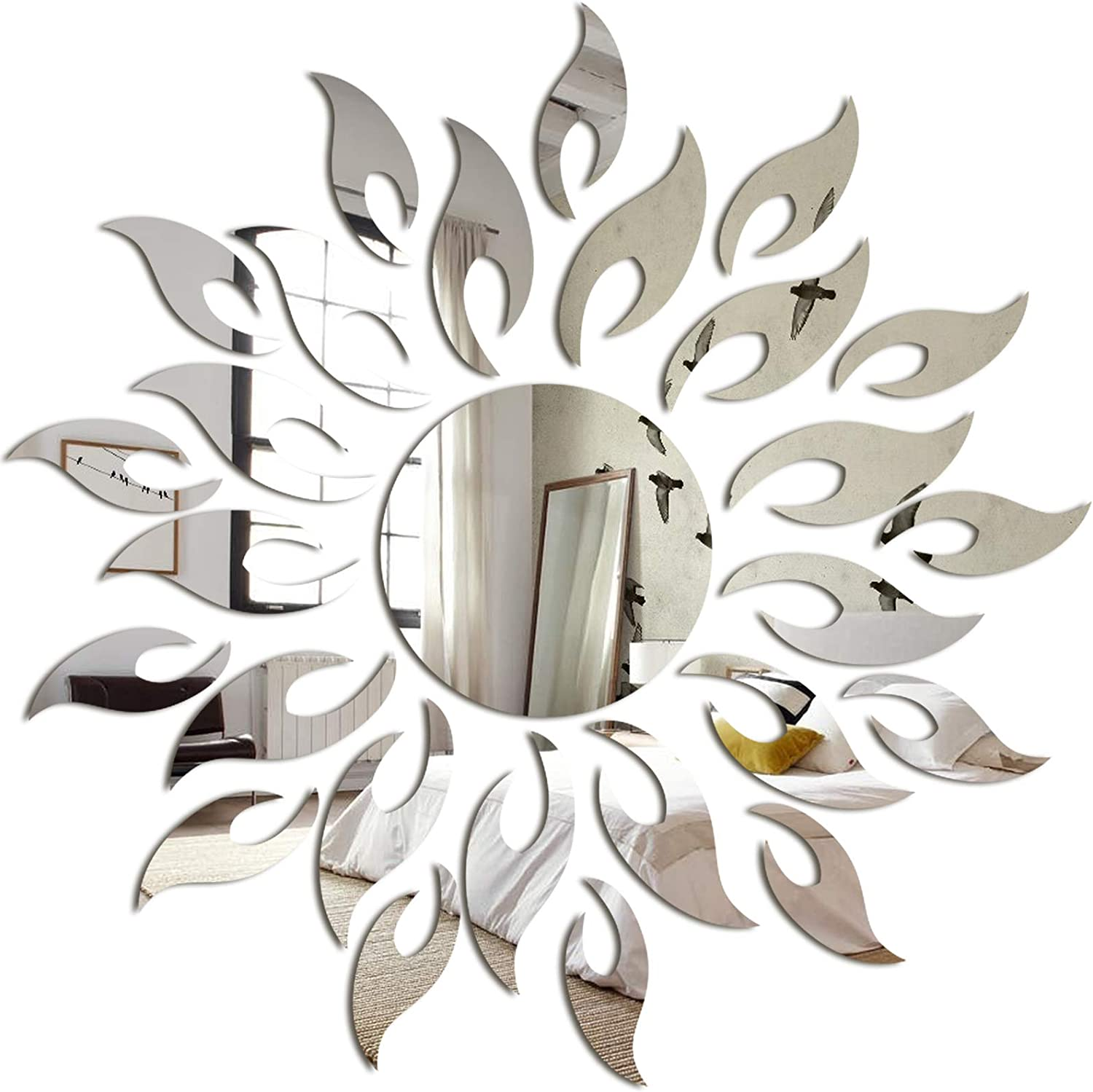 Mirror Sun Flower Shape Decal Art Wall Sticker Self-adhesive Acrylic Home Bedroom Decor gold panthem 27pcs Wall Tile Stickers