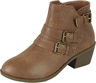 Forever Link Women's Strappy Buckle Chunky Stacked Block Heel Ankle Bootie