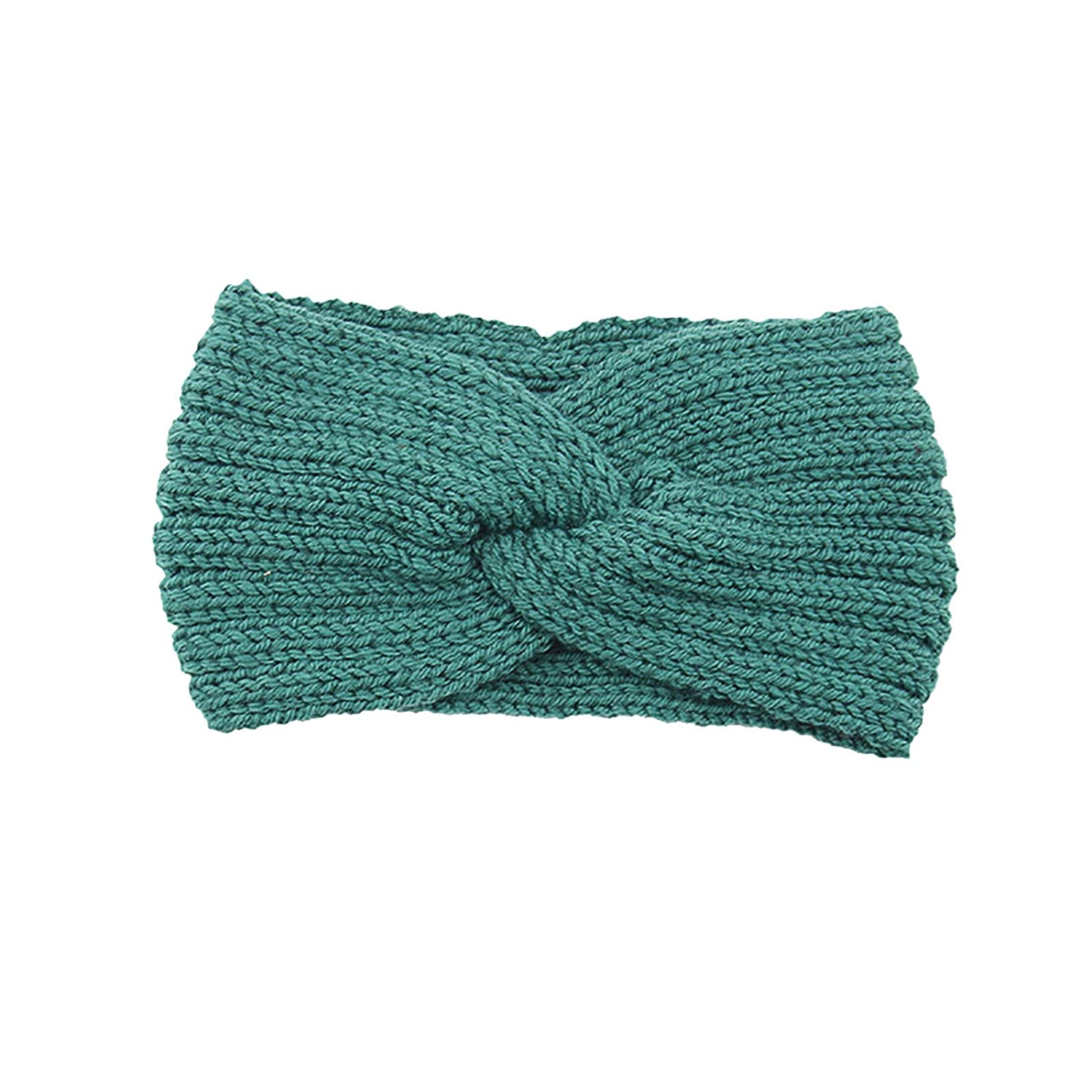 Thatso Winter Headbands for Women, Ear Warmer Headband with Buttons, Soft Stretchy Thick Cable Knitted Turban Hairband Gift (Green,One Size)