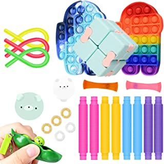 24 Packs Fidget Toy Set Tie Dye Pop Bubbles Pop Collapsible Tubes Toy Stress Relief Hand Toys for Kids Adults Anxiety Fidg...