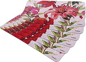 Kuber Industries Flower Design 6 Pieces PVC Refrigerator/Fridge Multipurpose Drawer Mat Set(Pink)-CTKTC32688