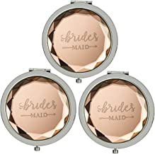 Humphrey Amelia Pack of 3 Pocket Makeup Mirrors Bridesmaid Gifts Bridal Shower Party Gifts with 3 Gift Bags(Champagne)