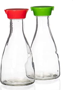 2-Pack of Soy Sauce Bottles & Red/Green Caps - 5-Oz (148 mL) Clear Easy Pour Glass Condiment Dispensers - Food & Salad Bar Utensils, Supplies, & Accessories for Restaurants, Cafes, Weddings, & Parties