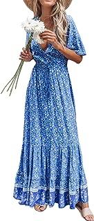 R.Vivimos Women's Long Sleeve V-Neck Cross Lace Up Maxi Dresses