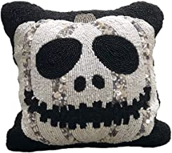 India Incredible White Jack O Lantern 12 x 12 Fully Beaded Halloween Cushion with 100% Polyester Filling