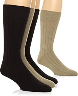 Calvin Klein Men's 4-Pack Solid Ribbed Dress Crew Socks