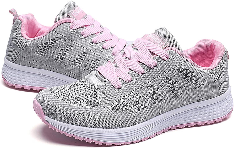 QZBAOSHU Women Lightweight Walking Shoes Ladies Trainers Air Cushion Running Sneakers Pink tIFv9J