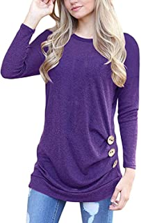 MOLERANI Women's Casual Long Sleeve Round Neck Loose Tunic T Shirt Blouse Tops