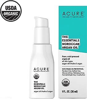Acure The Essentials Moroccan Argan Oil | 100% Vegan | Versatile - For Any Skin & Hair Care Regimen | Pure, Cold Pressed & Rich in Vitamin E - Hydrates & Restores | 1 Fl Oz