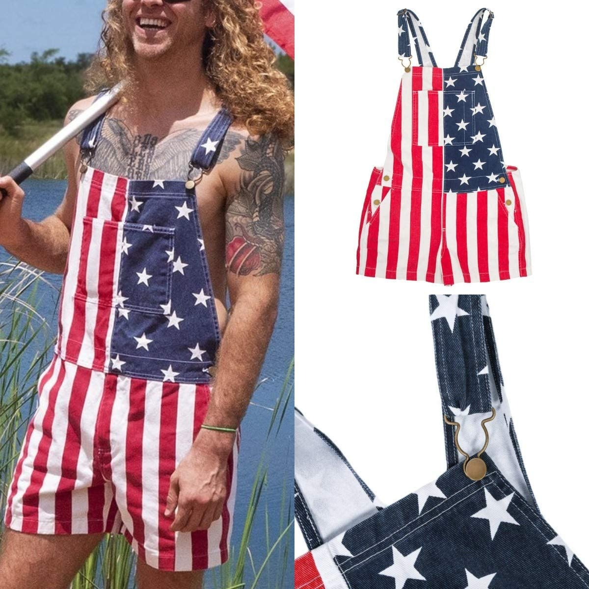 Baitengxin American Flag Overalls Adjustable Strap Jean Shorts 4Th of July Rompers Short Jumpsuit with Pocket,L