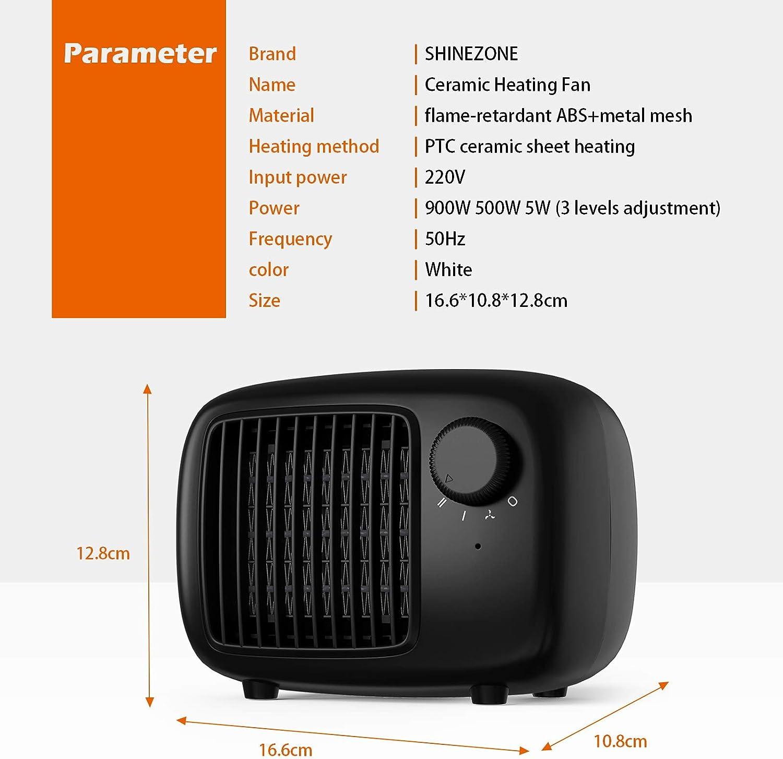 calefactor de aire el/éctrico port/átil calefactor el/éctrico para sal/ón oficina SHINEZONE Calefactor de cer/ámica con dos niveles de potencia ba/ño protecci/ón antivuelco mini calefactor blanco