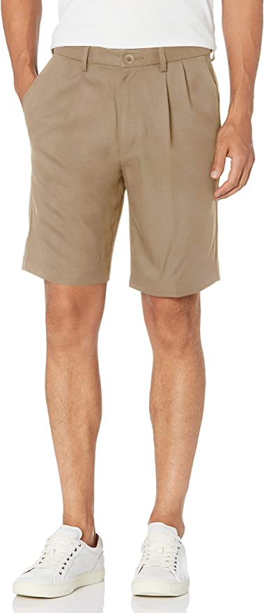 Vintage Style Mens Shorts Haggar Mens Cool 18 Pro Classic Fit Stretch Solid Pleat Front Short $39.99 AT vintagedancer.com