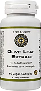 APOLLO SUN Olive Leaf Extract Capsules 500mg | Vegan Olive Leaf Extract Super Strength | 6% Oleuropein | Immunity Support,...