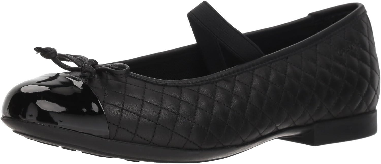 Geox Girl's Plie 49 Quilted Leather Slip-On Ballet Flat Mary Jane, Black, 33 Medium EU Little Kid (2 US)