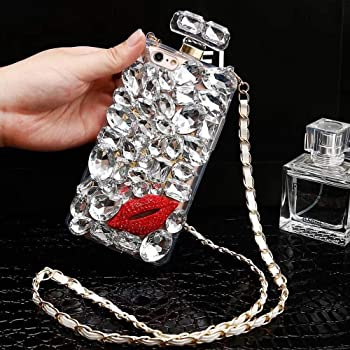 Perfume Bottle Case iPhone 8 Plus Diamond Case for Woman, iPhone 8 Plus Luxury Bling Glitter Sparkle Rhinestone Cover, Fashion Clear Crystal Full Diamonds Phone Case with Crossbody Necklace Chain