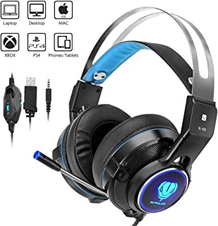 Gaming Headset for X-Box One, PS4, Weton Stereo Over-Ear Video Gaming Headset with Mic 3.5mm Wired Noise Isolation Gaming Headphone Headband LED Light for PC Laptop Tablet Mac Smartphones