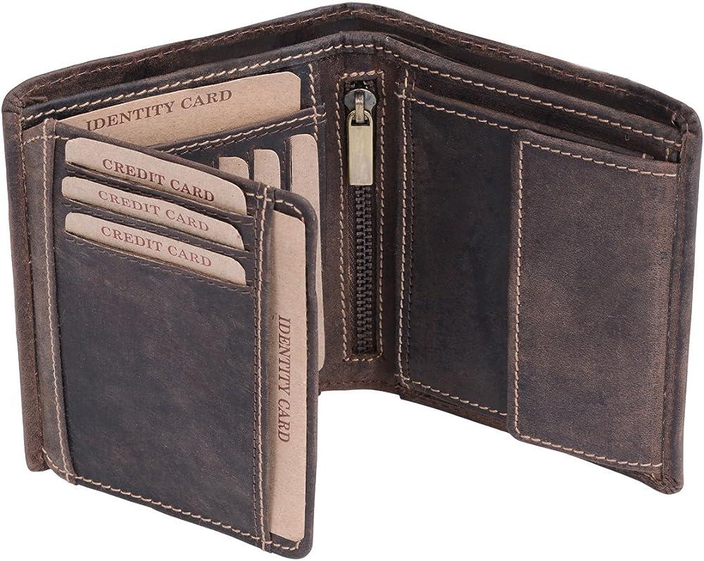 Leas, portafoglio, porta carte di credito per uomo, vintage-collection, in vera pelle LE8203-12-02