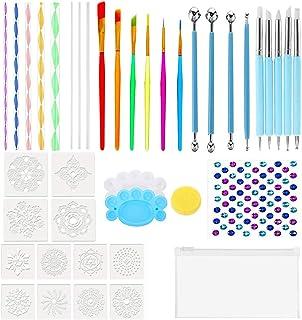 40PCS Mandala Nail Dotting Tool Painting Tools Paint Stencil,Dotting Tools, Brushes,Paint Tray and Gemstone Sticker for Pa...