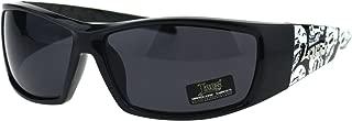 Locs Mens Skull Print Cholo Warp Biker Plastic Sport Sunglasses