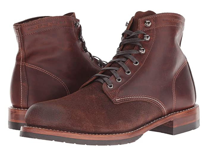 1920s Boardwalk Empire Shoes Wolverine Heritage 1000 Mile 6 Evans Boot Dark Brown LeatherSuede Mens Dress Lace-up Boots $299.95 AT vintagedancer.com
