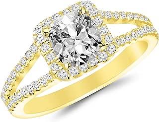 1.5 Ctw Cushion Cut Halo Split Shank Designer 14K White Gold Diamond Engagement Ring (H-I Color SI2-I1 Clarity 1 Ct Center)
