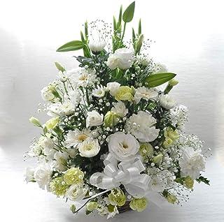 お供え お悔み 法要 四十九日 生花 フラワーアレンジメント ユリ リボン 入り L サイズ 高さ50cm (白)