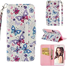 Case for iPhone 6 Plus/6S Plus,Kickstand Wallet Case with Card Slots 3D Printing PU Leather with Magnetic Closure & Wrist Strap Inner Soft Bumper Compatible with Apple iPhone 6 Plus/6S Plus -Butterfly