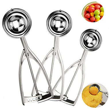 Quick Release Cookie Scoop, Ice Cream Scoops with Trigger, Stainless Steel Dough Scoop Cupcake Scoop Melon Baller For Left and Right Hands, 3 Pcs (1.5 Tbsp, 2.8 Tbsp and 5.4 Tbsp)
