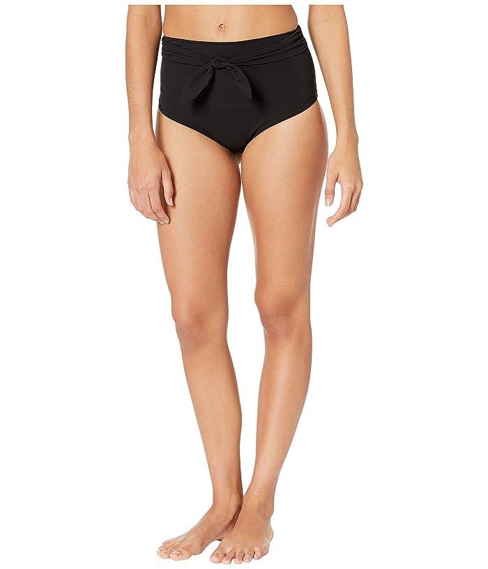 Tory Burch Swimwear Solid Tie High-Waisted Bottoms (Black) Women