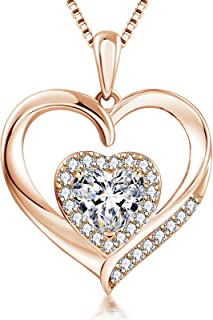 Fall in love Heart Necklace 14k White Gold Plated Heart...