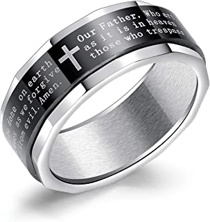 TEMICO 8MM Stainless Steel Bible Verse Christian Cross Lord's Prayer Spinner Band Ring for Men
