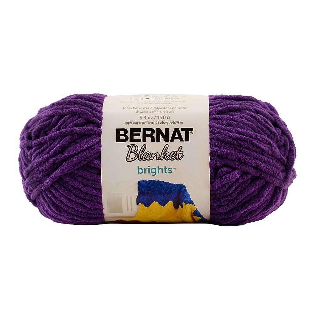 Bernat Blanket Brights Yarn, 5.3 oz, Gauge 6 Super Bulky Chunky, Pow Purple