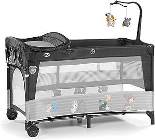 Innovaciones Ms 630227 Cuna De Viaje con 2 Alturas, Cambiador, Gatera y Carrusel de Juegos, Gris Oscuro