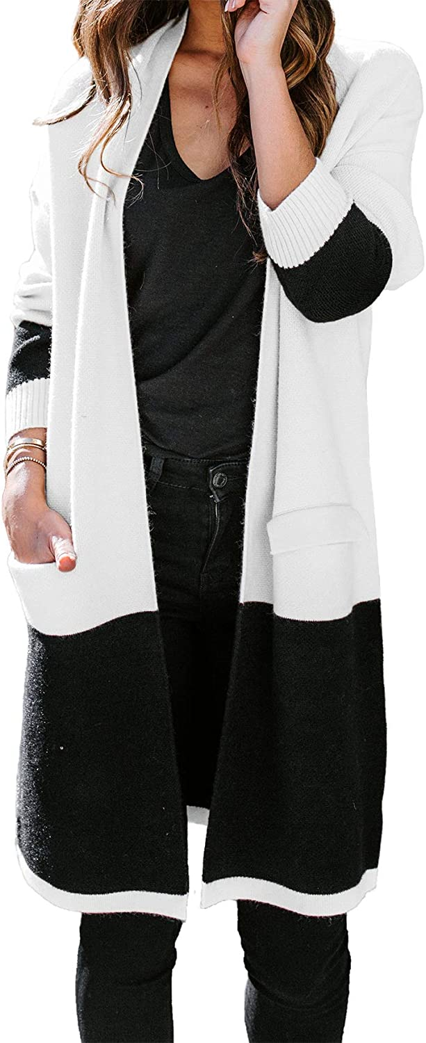 TOTREND Womens Boho Colorblock Cardigans Open Front Duster Loose Knit Oversized Lightweight Sweaters