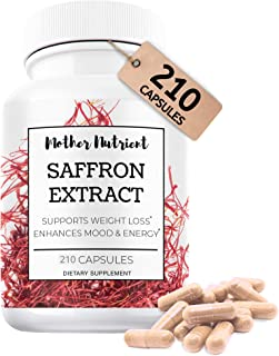 Saffron Supplement with 8825 mg of Saffron Extract, Crocus Sativus. 180 Capsules. Powerful Antioxidant Provides Mood Boos...