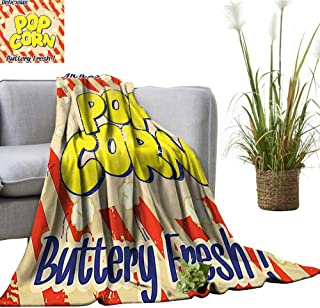 YOYI Blanket as Bedspread Popcorn Vintage Delicious Buttery Fresh Tasty Rusty Movie Advertising Fi Cozy and Durable Fabric-Machine 50