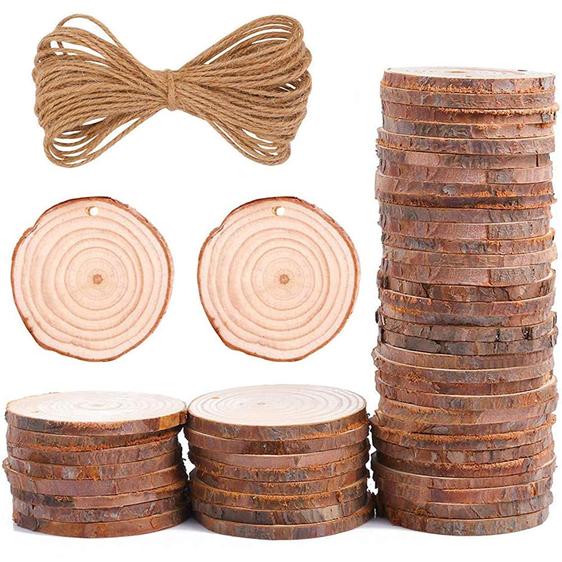 50pcs 1.9-2.4 inch Unfinished Natural Wood Slices with Holes and 33 Feet Natural Jute Twine for DIY Crafts Centerpieces