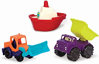 B. toys by Battat Loaders and Floaters Playset – 3 Mini Vehicles for kids 18 m+ (1 Toy Boat, 1 Dump Truck, 1 Excavator Toy...