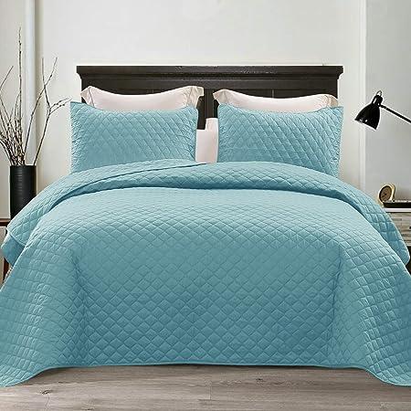 King//Cal King, Stunning Blue Comforter Bedding Cover Prestige Collection Mezzati Bedspread Coverlet Set Stunning Blue Brushed Microfiber Bedding 3-Piece Quilt Set