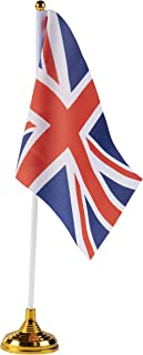 Juvale Union Jack Desk Flags - 24-Piece United Kingdom Desktop Flags with Stick and Gold Stand, UK Flag Table Decoration, 8.5 x 5.5 Inches