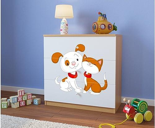 productos creativos CARELLIA Cómoda Infantil Infantil Infantil Perro y Gato 3cajones Chene Clair  varios tamaños